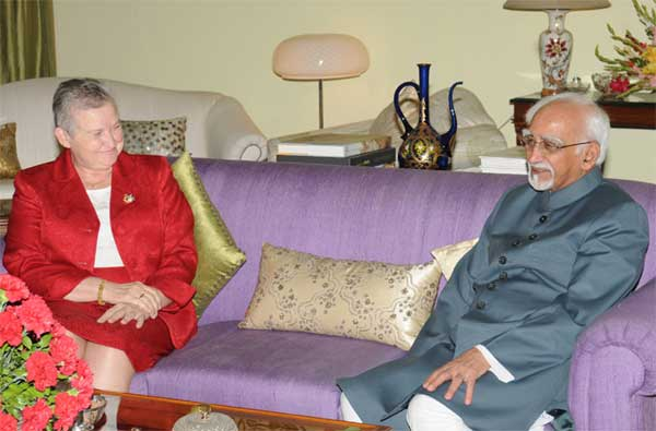 The Ambassador of the United States of America, Nancy J. Powell calls on the Vice President, Mohd. Hamid Ansari, in New Delhi on May 15, 2014.
