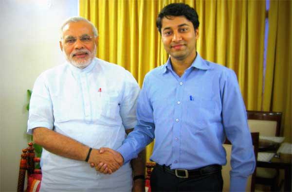 Vikas Pandey with Narendera Modi at Gujarat Bhavan