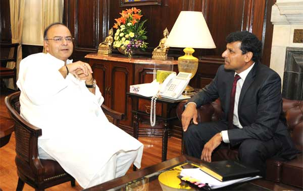 The Governor, Reserve Bank of India, Dr. Raghuram Rajan calling on the Union Minister for Finance, Arun Jaitley, in New Delhi on May 27, 2014.