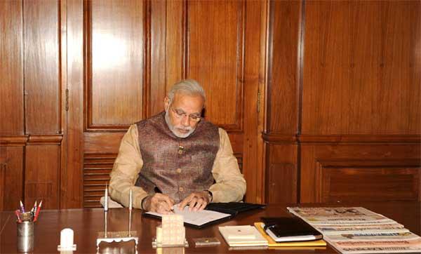The Prime Minister, Shri Narendra Modi taking charge of the office of the Prime Minister of India, at South Block, in New Delhi on May 27, 2014.