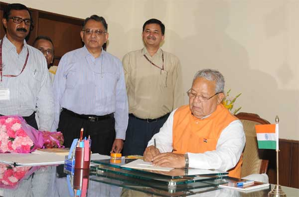 Kalraj Mishra taking charge as the Union Minister for Micro, Small and Medium Enterprises, , in New Delhi on May 28, 2014.