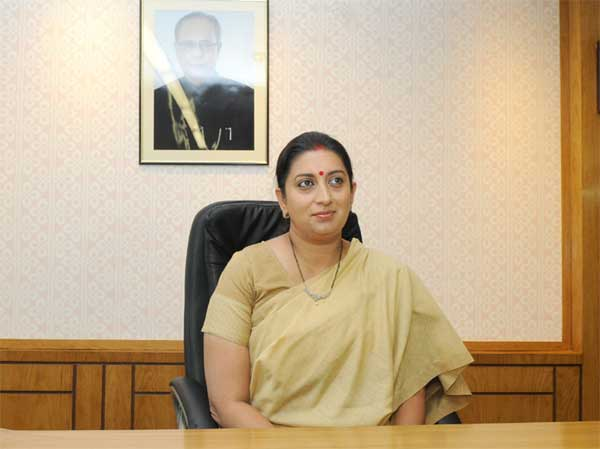 Smriti Zubin Irani taking charge as the Union Minister for Human Resource Development, in New Delhi on May 27, 2014.