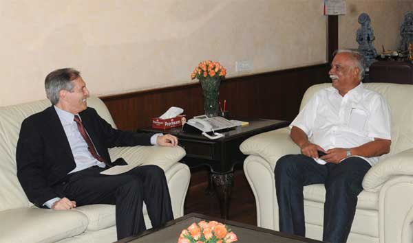 The Ambassador of the Federal Republic of Germany in India, Michael Steiner calling on the Union Minister for Civil Aviation, Ashok Gajapathi Raju Pusapati, in New Delhi on June 19, 2014.