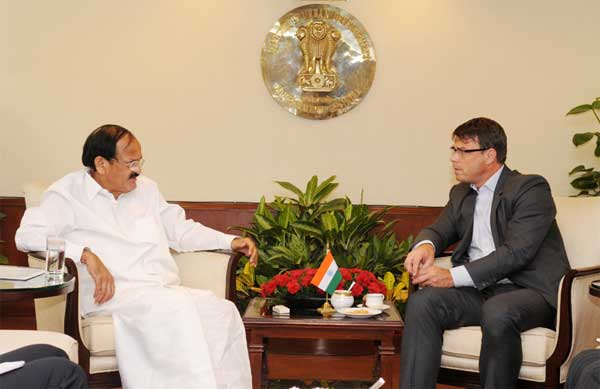 The High Commissioner of Australia in India, Patrick Suckling meeting the Union Minister for Urban Development, Housing and Urban Poverty Alleviation and Parliamentary Affairs, M. Venkaiah Naidu, in New Delhi on June 24, 2014.