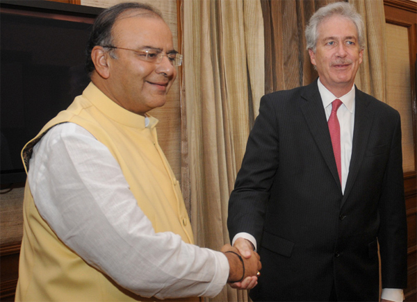 The US Deputy Secretary of State, William Joseph Burns meeting the Union Minister for Finance, Corporate Affairs and Defence, Arun Jaitley, in New Delhi on July 10, 2014.