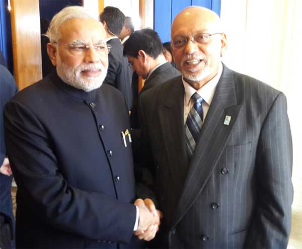 The Prime Minister, Narendra Modi meeting the President of Co-operative Republic of Guyana, Donald Ramotar, on the sidelines of the Sixth BRICS Summit, at Brasilia, in Brazil on July 16, 2014.
