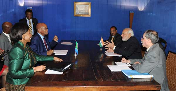 The Prime Minister, Narendra Modi meeting with the President of the Republic of South Africa,  Jacob Zuma, on the sidelines of the Sixth BRICS Summit, at Brasilia, in Brazil on July 16, 2014.