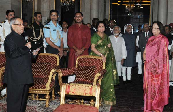 The President, Pranab Mukherjee hosted an Iftar party, at Rashtrapati Bhavan, in New Delhi on July 21, 2014. The Vice President, Mohd. Hamid Ansari, the Union Minister for Minority Affairs, Dr. Najma A. Heptulla and other dignitaries are also seen.
