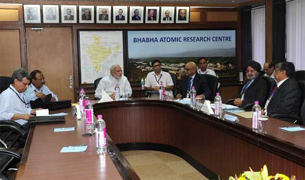 The Prime Minister, Narendra Modi being briefed by the Secretary DAE and Chairman, AEC, Dr. R.K Sinha, at the Bhabha Atomic Research Centre (BARC), in Mumbai on July 21, 2014.