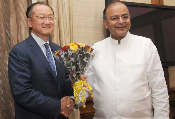 The President of World Bank Group, Dr. Jim Yong Kim meeting the Union Minister for Finance, Corporate Affairs and Defence, Arun Jaitley, in New Delhi on July 22, 2014.