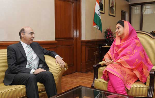 The Pakistan High Commissioner to India, Abdul Basit meeting the Union Minister for Food Processing Industries, Harsimrat Kaur Badal, in New Delhi on July 24, 2014.