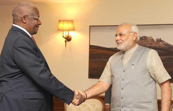 The Foreign Minister of Uganda, Dr. Sam Kutesa calling on the Prime Minister, Shri Narendra Modi, in New Delhi on July 28, 2014.