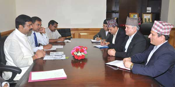 The Minister of Commerce and Supplies, Nepal, Sunil Bahadur Thapa meeting the Minister of State (Independent Charge) for Petroleum and Natural Gas, Dharmendra Pradhan, in New Delhi on July 30, 2014.
