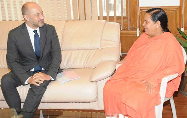 The Ambassador of France to India, Francois Richier calls on the Union Minister for Water Resources, River Development and Ganga Rejuvenation, Sushri Uma Bharati, in New Delhi on July 31, 2014.