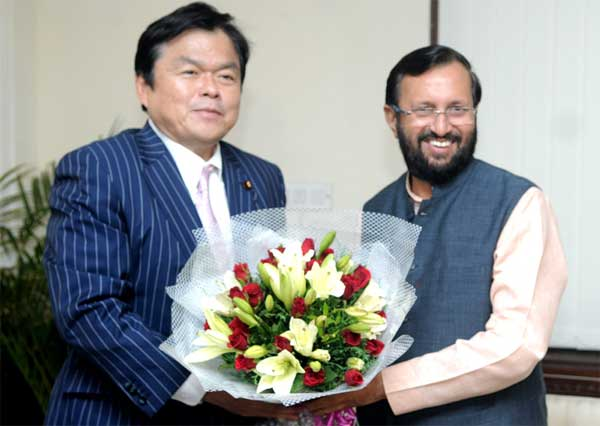 The State Minister of Economy, Trade and Industry of Japan, Kazuyoshi Akaba meting the Minister of State for Information and Broadcasting (Independent Charge), Environment, Forest and Climate Change (Independent Charge) and Parliamentary Affairs, Prakash Javadekar, in New Delhi on July 31, 2014.