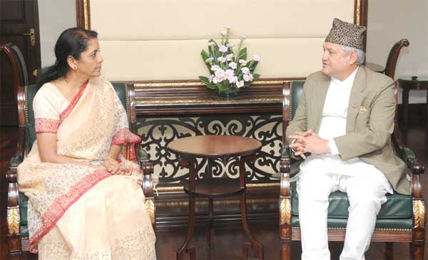 The Minister of Commerce and Supplies, Nepal, Sunil Bahadur Thapa meeting the Minister of State for Commerce & Industry (Independent Charge), Finance and Corporate Affairs, Nirmala Sitharaman, in New Delhi on July 31, 2014.