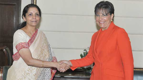 The US Secretary of Commerce, Penny Pritzker meeting the Minister of State for Commerce & Industry (Independent Charge), Finance and Corporate Affairs, Nirmala Sitharaman, in New Delhi on July 31, 2014.