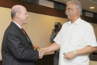 The Minister for Tourism & Culture of Seychelles, Alain St. Ange meeting the Minister for Civil Aviation, Ashok Gajapathi Raju Pusapati