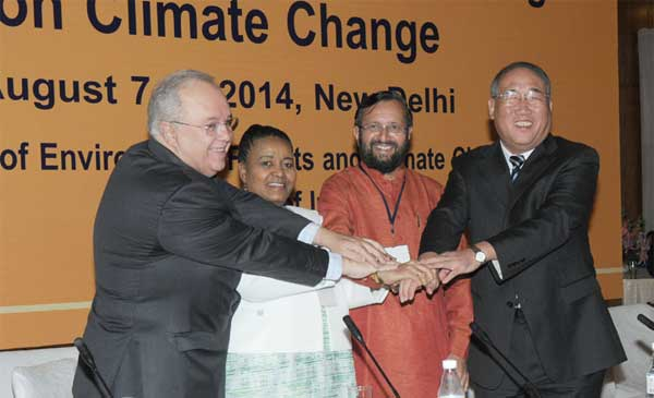The Minister of State for Information and Broadcasting (Independent Charge), Environment, Forest and Climate Change (Independent Charge) and Parliamentary Affairs, Prakash Javadekar at the XVIII BASIC Ministerial Meeting on Climate Change, in New Delhi on August 08, 2014.