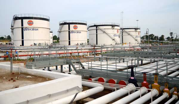A view of the product storage tanks at Indian Oil Corporation's new petroleum bulk storage terminal at Jasidih in Deoghar district of Jharkhand