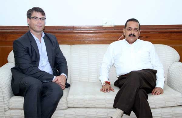 The High Commissioner of Australia to India, Patrick Suckling calling on the Minister of State for Science and Technology (Independent Charge), Earth Sciences (Independent Charge), Prime Minister Office, Personnel, Public Grievances & Pensions, Department of Atomic Energy and Department of Space, Dr. Jitendra Singh, in New Delhi on August 26, 2014.