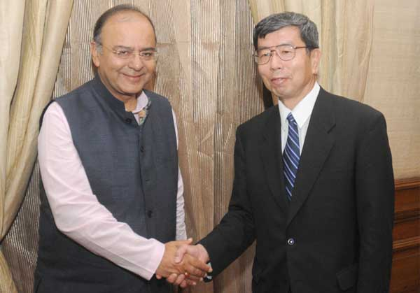 The President, Asian Development Bank (ADB), Takehiko Nakao calling on the Union Minister for Finance, Corporate Affairs and Defence, Arun Jaitley, in New Delhi on August 26, 2014.