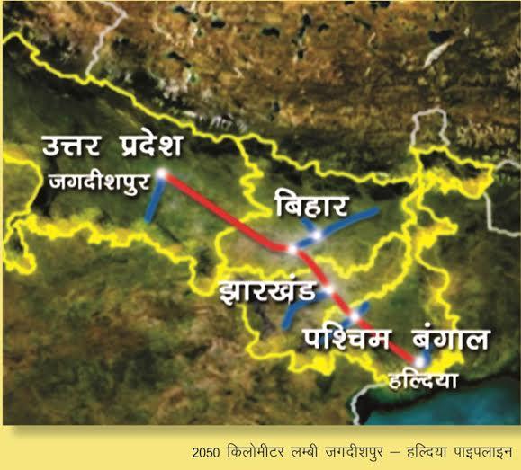 Indicative map of the GAIL Jagdishpur – Haldia pipeline