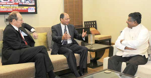 The MP and Parliamentary Under-Secretary of State for Justice, UK, Shailesh Vara meeting the Union Minister for Communications & Information Technology and Law & Justice, Ravi Shankar Prasad, in New Delhi on September 01, 2014.
