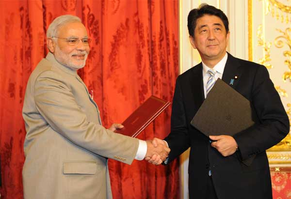 The Prime Minister, Narendra Modi and the Prime Minister of Japan, Shinzo Abe after signing the agreements, at Akasaka Palace, in Tokyo, Japan on September 01, 2014.