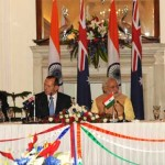The Secretary, Department of Atomic Energy, Dr. R.K. Sinha and the High Commissioner of Australia to India, Patrick Suckling signing an agreement on cooperation in the Peaceful Uses of Nuclear Energy, in the presence of the Prime Minister, Narendra Modi and the Prime Minister of Australia, Tony Abbott, in New Delhi on September 05, 2014.