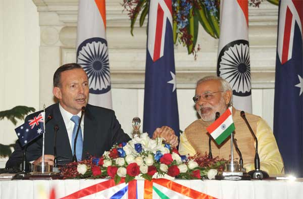 The Prime Minister, Narendra Modi and the Prime Minister of Australia, Tony Abbott, at the Joint Press Statements, in New Delhi on September 05, 2014.