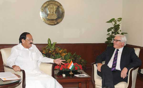 The German Foreign Minister, Frank-Walter Steinmeier meeting the Union Minister for Urban Development, Housing and Urban Poverty Alleviation and Parliamentary Affairs, M. Venkaiah Naidu, in New Delhi on September 08, 2014.