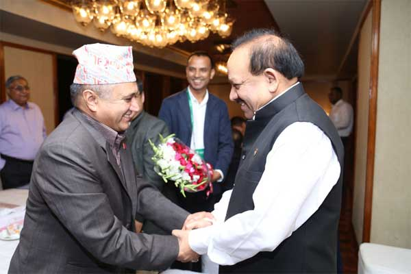 The Union Minister for Health and Family Welfare, Dr. Harsh Vardhan meeting the Health Minister of Nepal, Khagaraj Adhikari, at Dhaka, in Bangladesh on September 08, 2014.