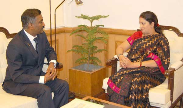 The Deputy Minister of Education of Malaysia, P. Kamalanathan meeting the Union Minister for Human Resource Development, Smriti Irani, in New Delhi on September 09, 2014.