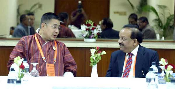 The Union Minister for Health and Family Welfare, Dr. Harsh Vardhan and the Health Minister, Bhutan, Tandin Wangchuk, during bilateral meeting, at Dhaka on September 10, 2014.