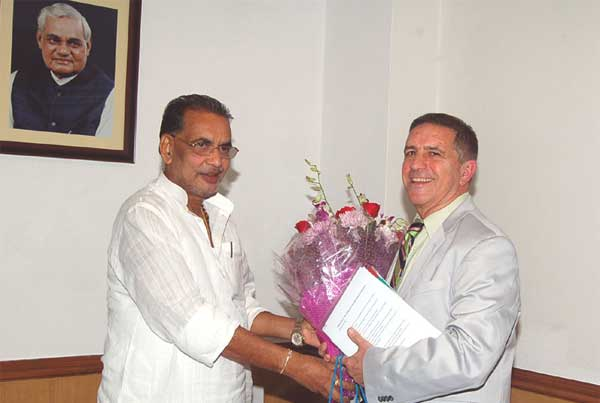 The Israeli Ambassador to India, Daniel Carmon meets the Union Minister for Agriculture, Radha Mohan Singh, in New Delhi on September 18, 2014.