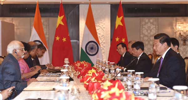 The Vice President, Mohd. Hamid Ansari meeting the Chinese President, Xi Jinping, in New Delhi on September 18, 2014.