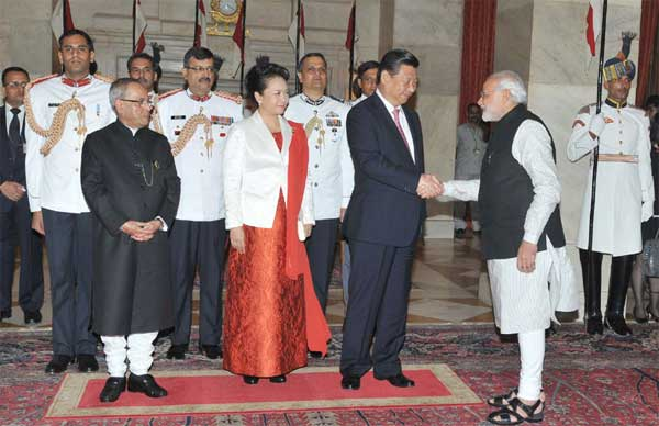 The Prime Minister, Narendra Modi, at the banquet hosted in honour of the Chinese President, Xi Jinping and the First Lady of the Republic of China, Peng Liyuan by the President, Pranab Mukherjee, at Rashtrapati Bhavan, in New Delhi on September 18, 2014.