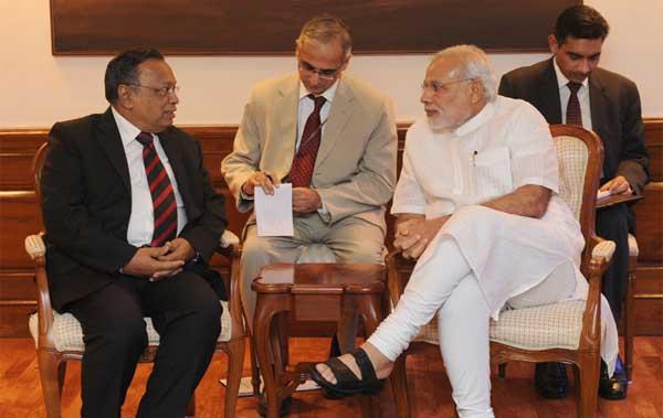 The Bangladesh Foreign Minister, Abul Hassan Mahmood Ali calling on the Prime Minister, Narendra Modi, in New Delhi on September 19, 2014.
