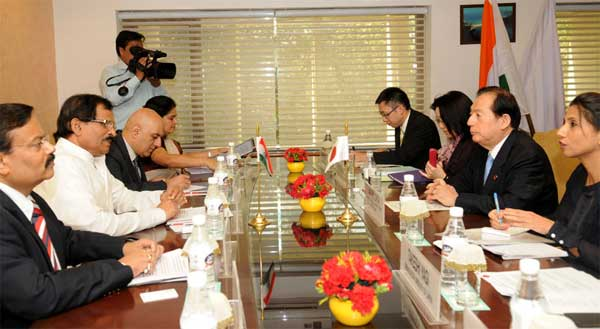 The Minister of State (Independent Charge) for Culture and Tourism, Shripad Yesso Naik and the Minister of Land, Infrastructure, Transport and Tourism (MLIT), Japan, Akihiro Ohta, at a Bi-lateral meeting, in New Delhi on September 24, 2014. The Secretary, Ministry of Tourism, Parvez Dewan is also seen.