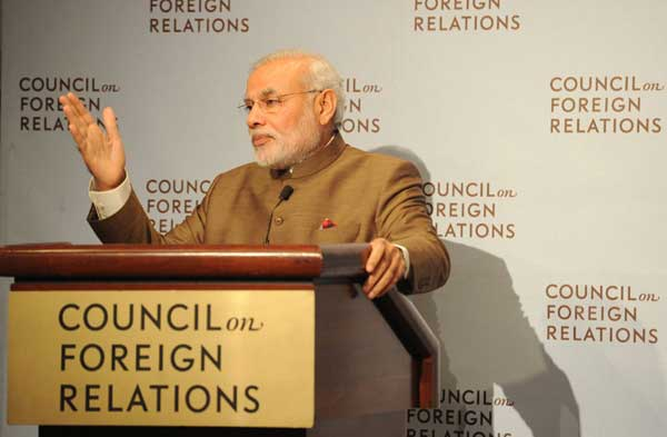 Prime Minister, Shri Narendra Modi addressing at the Council on Foreign Relations, in New York.