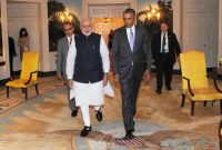The President Barack Obama of the United States welcomes the Prime Minister, Narendra Modi,