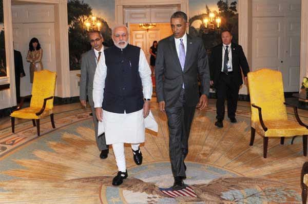 The President Barack Obama of the United States welcomes the Prime Minister, Narendra Modi, at the dinner hosted in his honour, at the White House, in Washington DC on September 30, 2014.