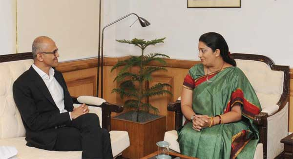 The CEO, Microsoft, Satya Nadela calling on the Union Minister for Human Resource Development, Smriti Irani, in New Delhi on September 30, 2014.