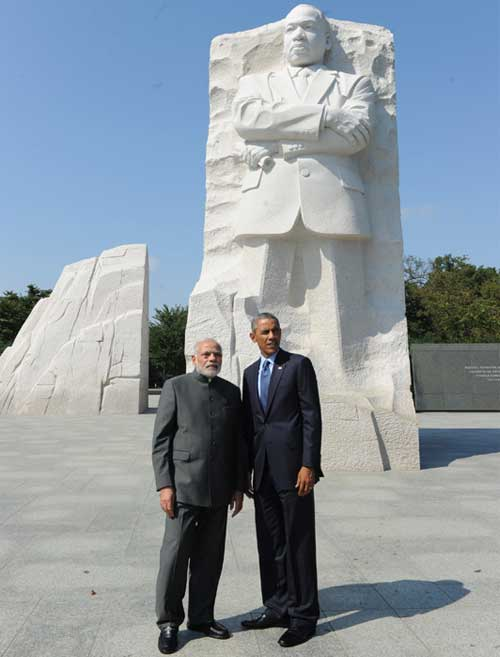 The Prime Minister, Narendra Modi and the US President, Barack Obama at the Martin Luther King memorial, in Washington DC on September 30, 2014.