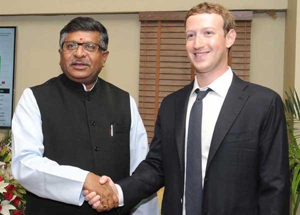 The Chairman & CEO of Facebook, Mark Zuckerberg meeting the Union Minister for Communications & Information Technology and Law & Justice, Ravi Shankar Prasad, in New Delhi on October 10, 2014.