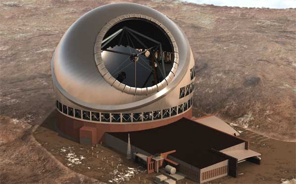 A model of the TMT, world's biggest telescope to be built on Hawaii Island with Indian partcipation