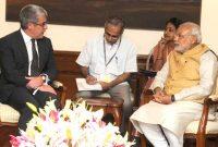 The National Security Advisor, France, Jacques Audibert calling on the Prime Minister, Narendra Modi, in New Delhi on October 10, 2014.