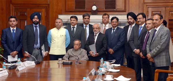 The President, Pranab Mukherjee with the Indian Business Delegation for the President's State visit to Norway and Finland, at Rashtrapati Bhavan, in New Delhi on October 10, 2014.