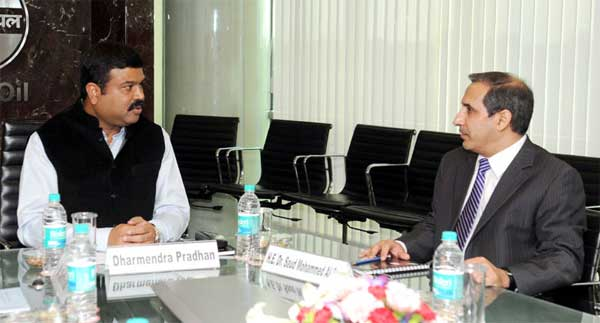 The Minister of State (Independent Charge) for Petroleum and Natural Gas, Dharmendra Pradhan meeting the Ambassador of Saudi Arabia to India, Dr. Saud Mohammed Al-Sati, in New Delhi on October 14, 2014.